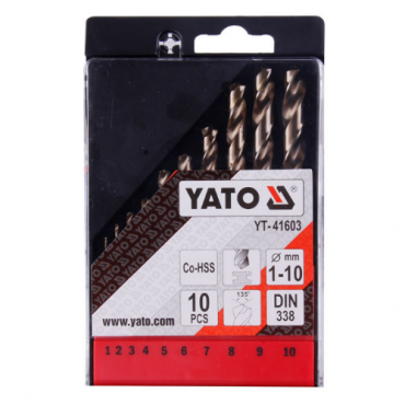 Bộ mũi khoan kim loại Co-HSS 1-10mm 10PCS YATO YT-41603